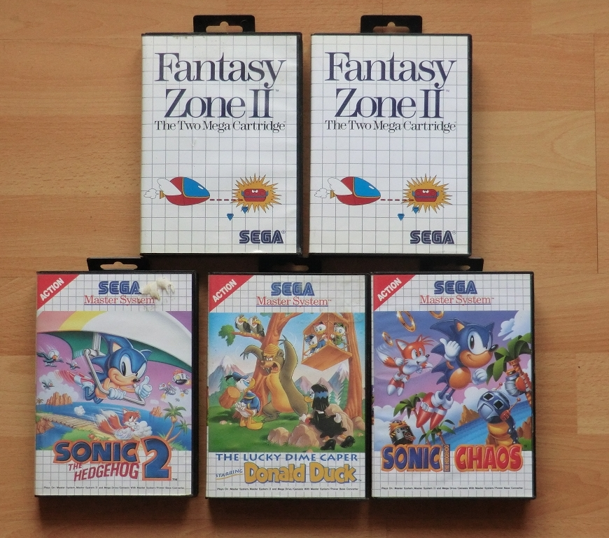 Flohmarkt Ausbeute Fantasy Zone 2 Sonic 2 Sonic Chaos Donald Duck The Lucky Dime Caper Master System