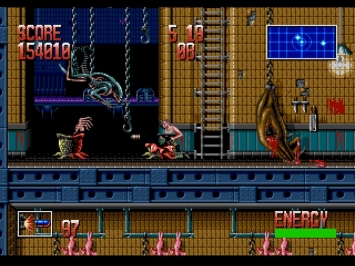Alien 3 Mega Drive Screenshot Ripley Facehugger Slaughterhouse