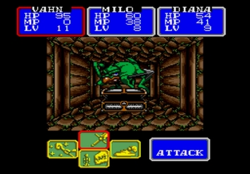 Shining in the Darkness SEGA Mega Drive RPG Chestbeak Boss Cave of Strength Vahn Milo Diana