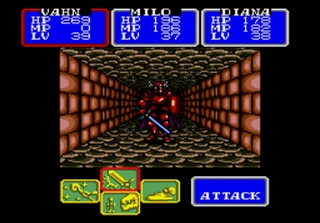 Shining in the Darkness SEGA Mega Drive RPG Boss Dark Knight Level 4