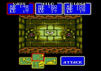 Shining in the Darkness SEGA Mega Drive RPG Grimwall Boss Level 1