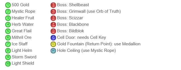 Shining in the Darkness SEGA Mega Drive RPG Walkthrough Lösung Map Level 3