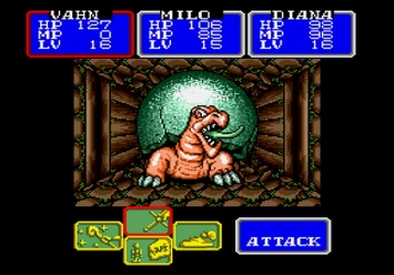 Shining in the Darkness SEGA Mega Drive RPG Tortolyde Boss Cave of Courage