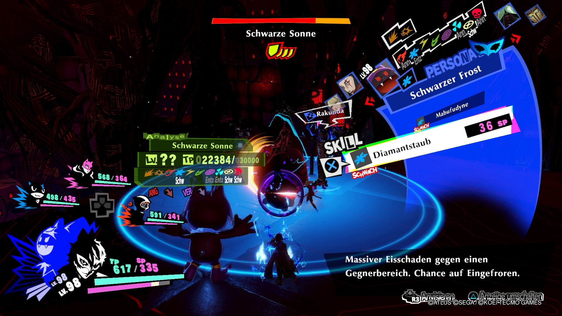 Persona 5 Strikers Dire Shadow Düstershatten Gefängnis des Abgrunds PS4 RPG JRPG Guide Schwarze Sonne