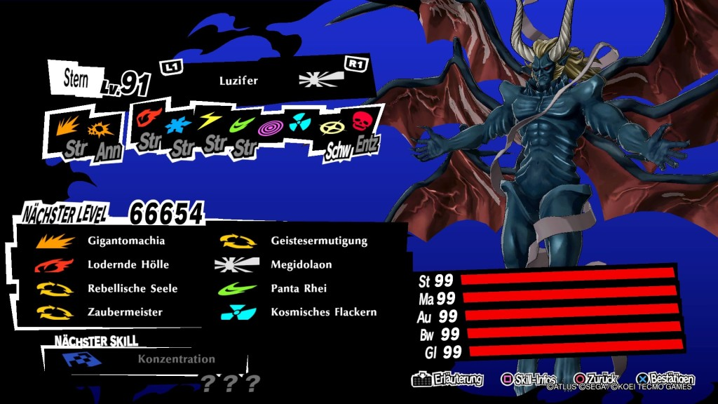 Persona 5 Strikers Luzifer Lucifer Max Stats99 Infinite PP PS4 RPG JRPG Guide